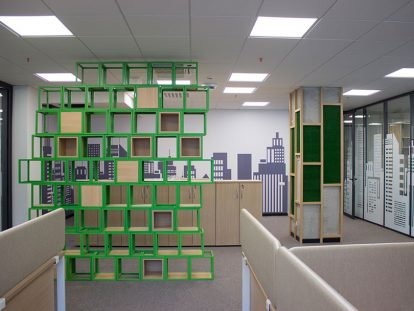 Ameriabank office space design idea with cubicles
