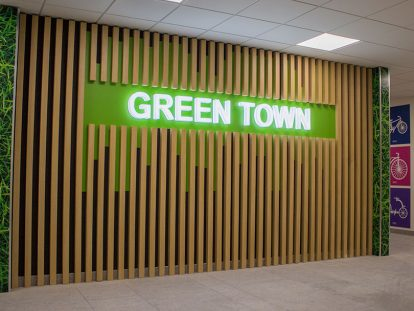 Green Town illuminated office interior design idea