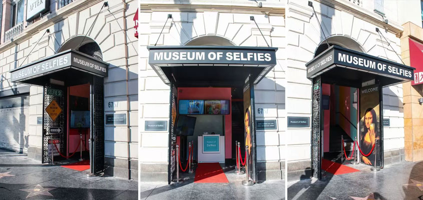 Museum Of Selfies cool exterior canopy style business sign for branding