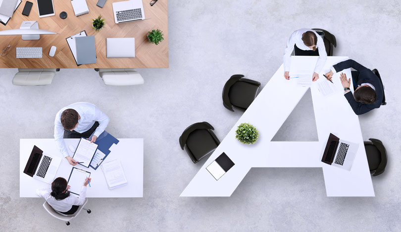 office interior space design idea with custom desks