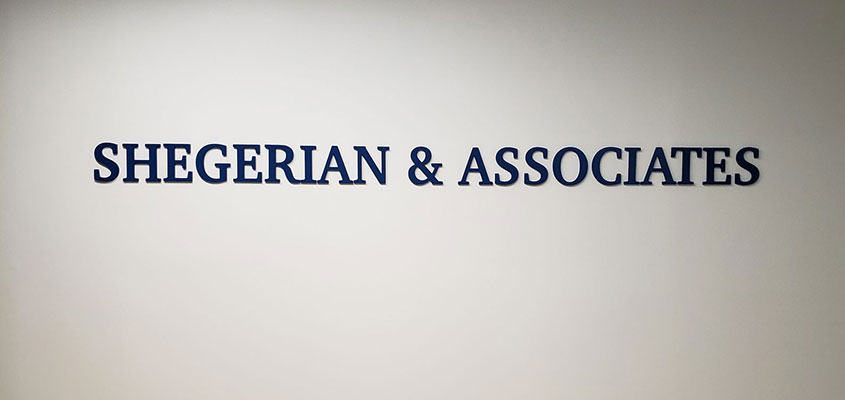 Shengerian & Associates simple office name board design