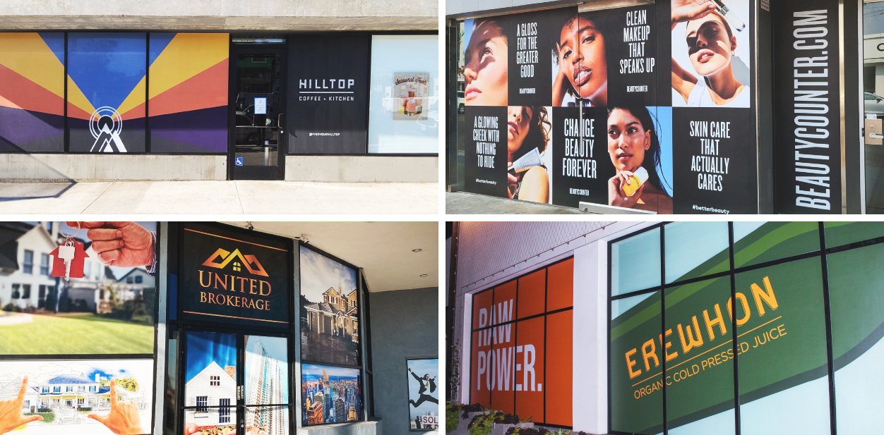 Business sign ideas with branded graphics displayed on building windows