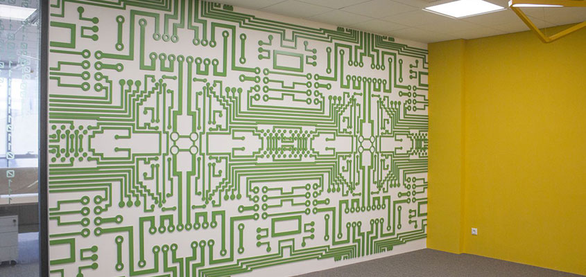 Chip style wall design idea with core elements for office interior space
