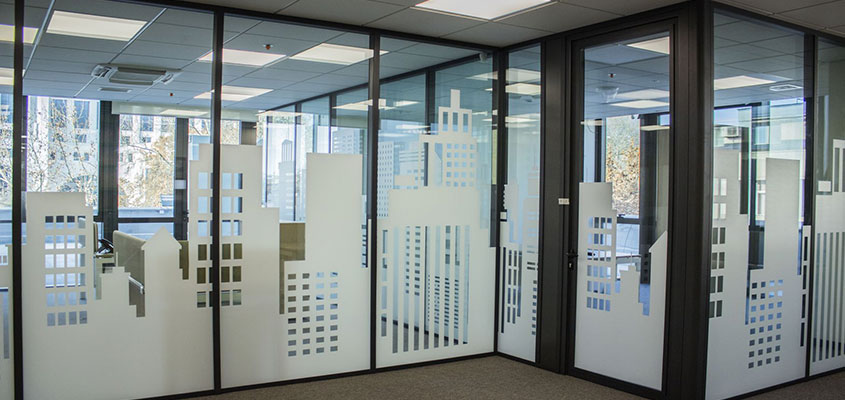 City style window stickers for office space design