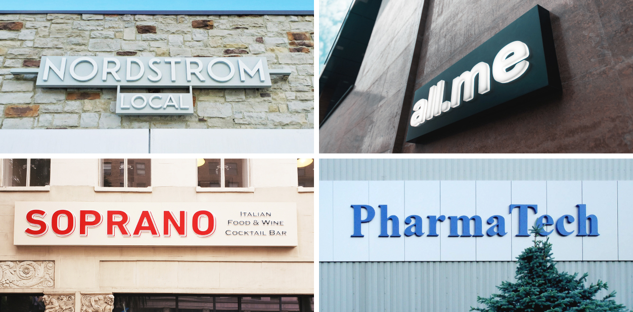 Commercial sign ideas collection displaying brand name for inspiration