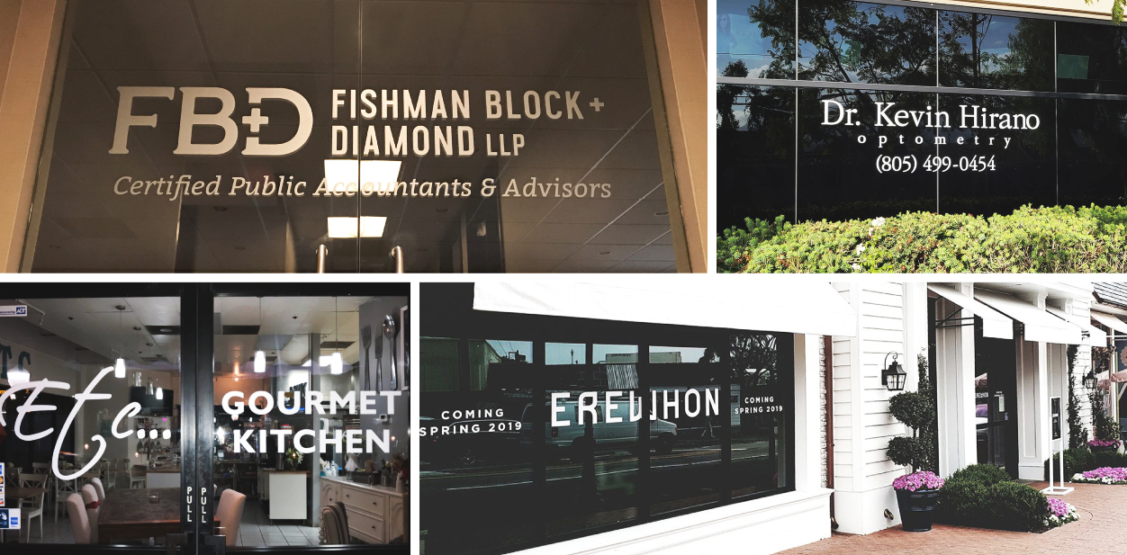 Commercial sign ideas with branded lettering displayed on building windows