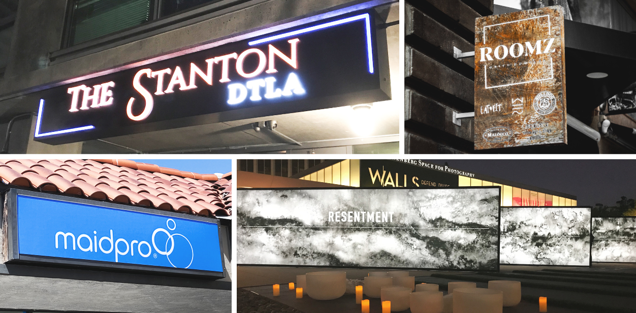 Cool exterior signage ideas for business in a box shape displaying brand name and logo
