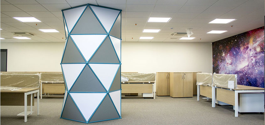 Custom office space design idea with geometric architectural structure