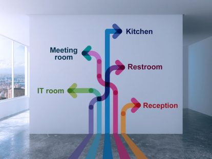 custom office wall design idea with directions