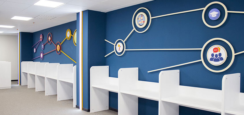 Custom office wall design with blue background