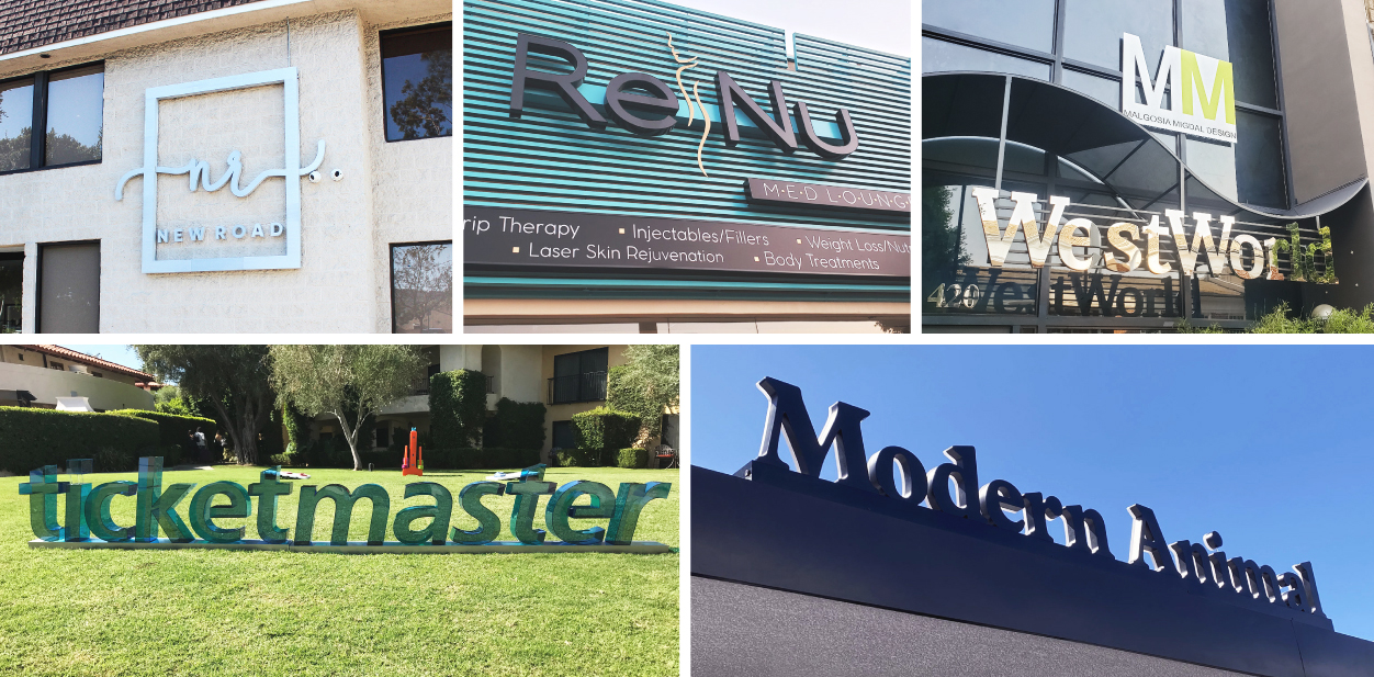 Dimensional outdoor business sign ideas taken from famous projects