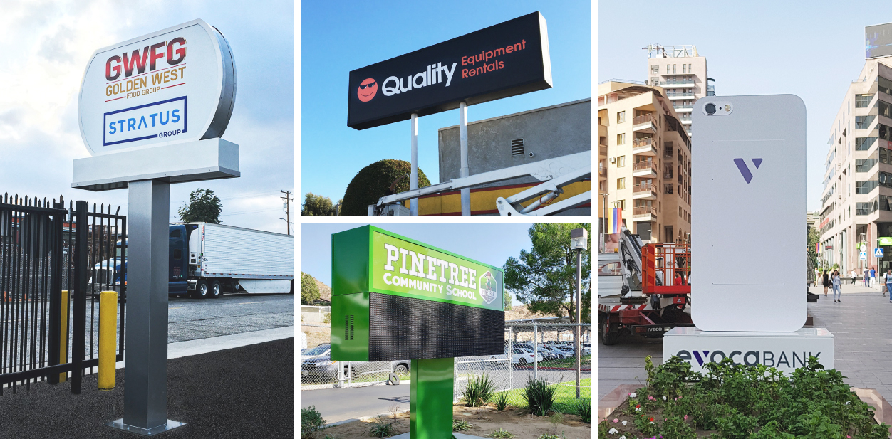 Huge outdoor business sign ideas displaying company logo, name and services