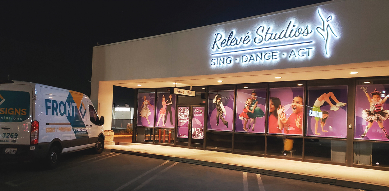 Commercial sign ideas combined at the Releve Studios