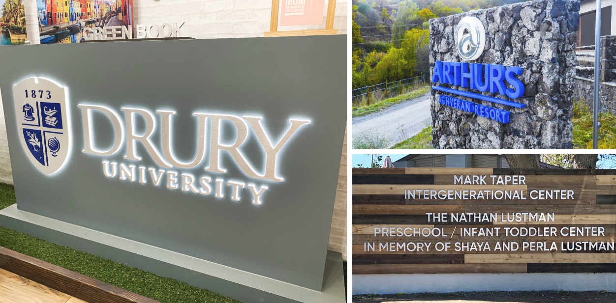 Monumental business sign ideas displaying company name and logo for exterior branding
