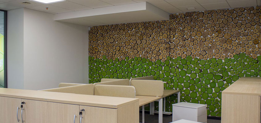 Office wall design idea with natural elements