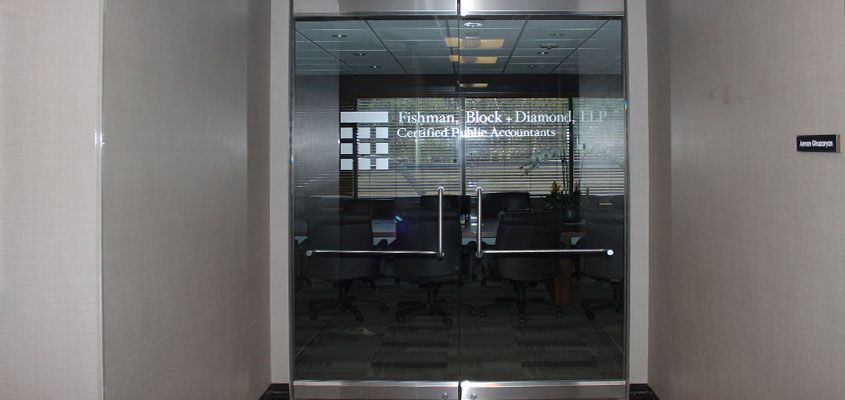Office door design example with lettering