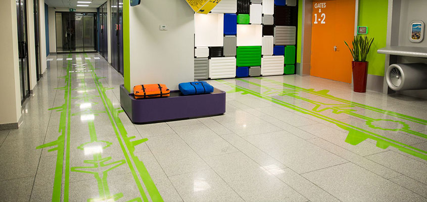 Office floor airstrip decorative elements for design