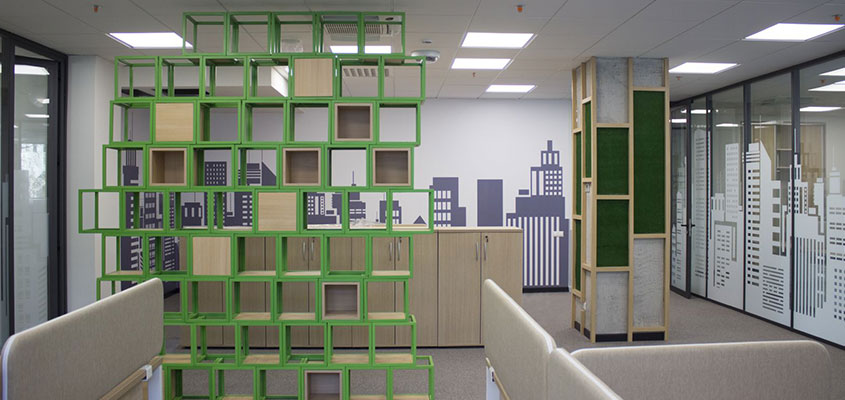 Office green cubic structure for the interior design