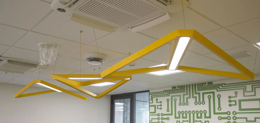Triangle office lighting structure for interior design