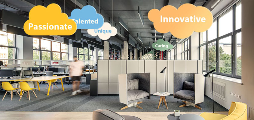 Office interior design idea with colorful hanging structures displaying motivational phrases