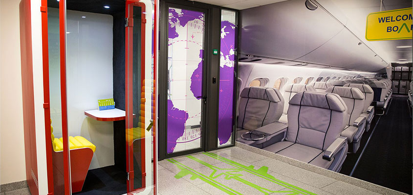 Office space thematic design idea in airport style