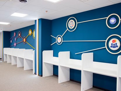 office wall design ideas with custom patterns