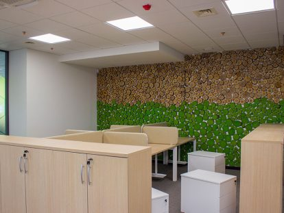 office wall design with nature elements