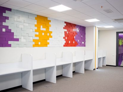 office wall design with puzzle shapes