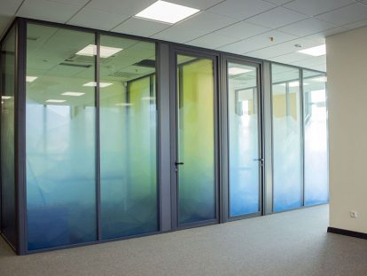 office window design idea with sema-transparent print