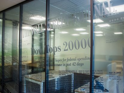 office window design with custom lettering