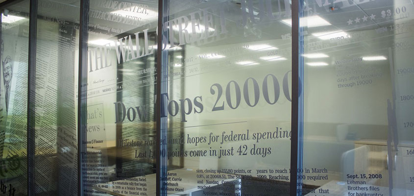 Office window vinyl lettering design idea to show top revenue scores and service qualifications