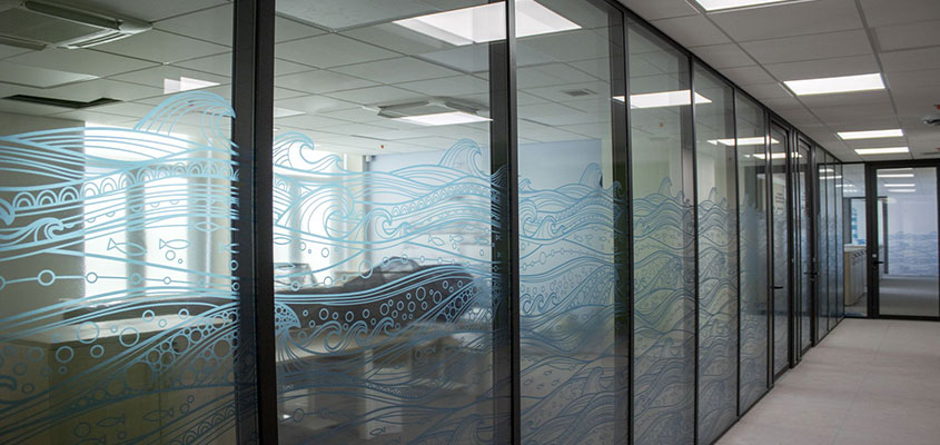 Office window wave stickers design solutions