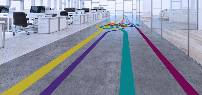 Office road pattern floor decorative elements for design