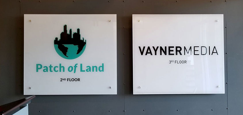 Square office wayfinding boards for wall design inspiration