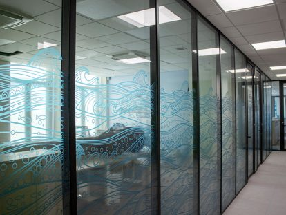 wave print office window design