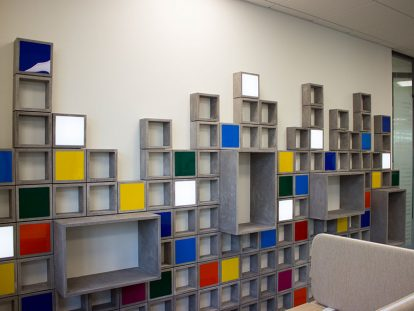 wooden-aluminum boxes office wall design idea