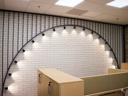 workspace design idea with arched lighting