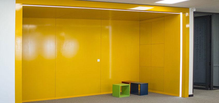 Yellow painted office interior corridor design idea