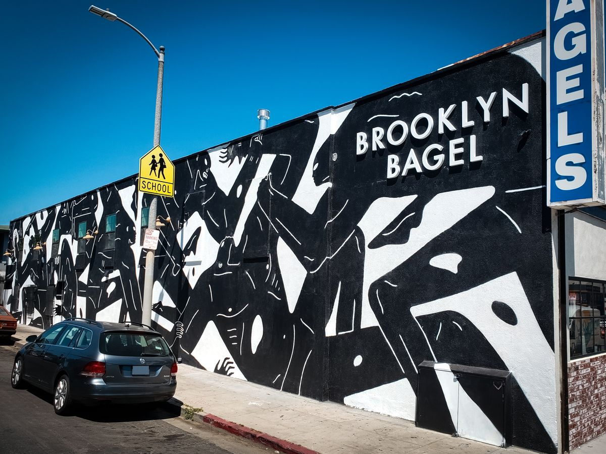 Brooklyn Bagel 3d sign painted in white color displaying the company name made of aluminum for outdoor branding