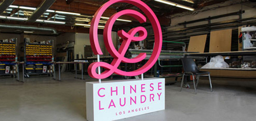 Chinese Laundry name board laser cut idea mixing different materials