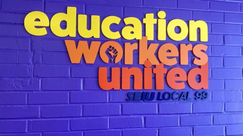 Education workers united 3d letters