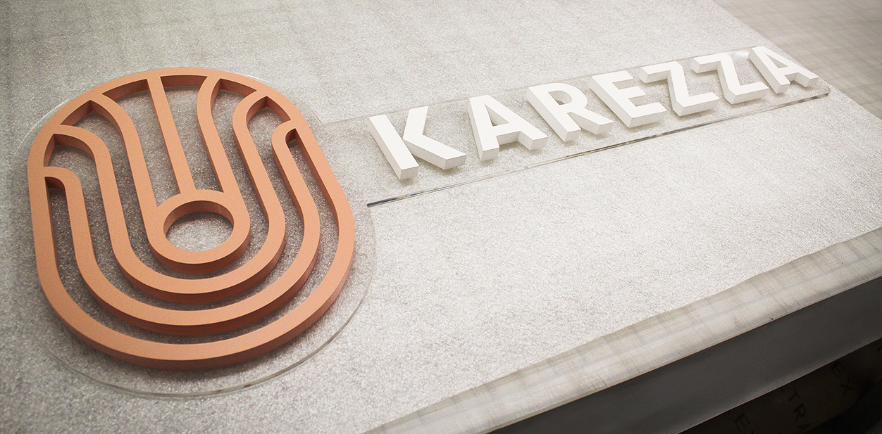 Karezza name board example for laser cut projects displaying brand name and logo