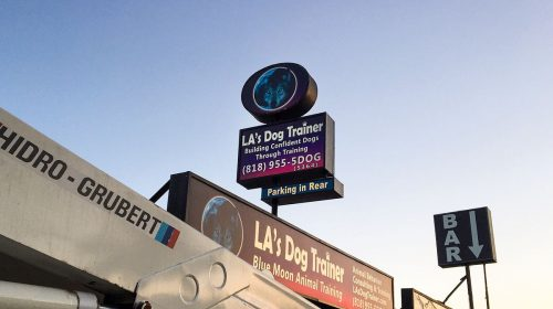 LA's Dog Trainer large light boxes made of aluminum and acrylic for business promotion