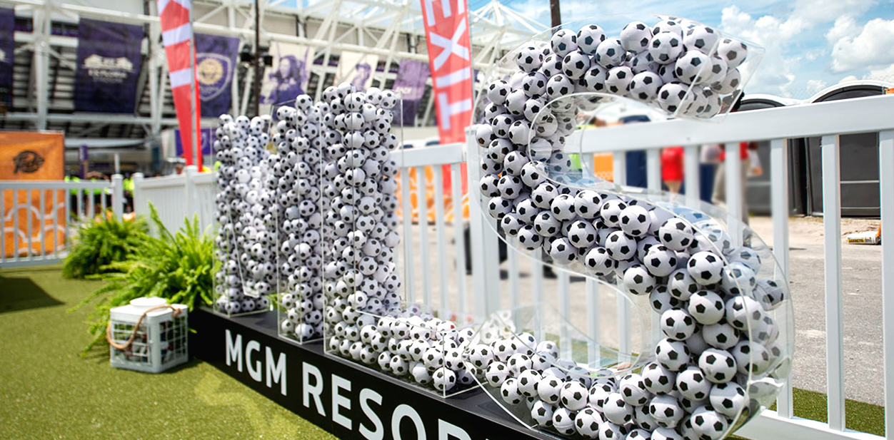 Cool laser cut idea from MGM with large size letters for event branding