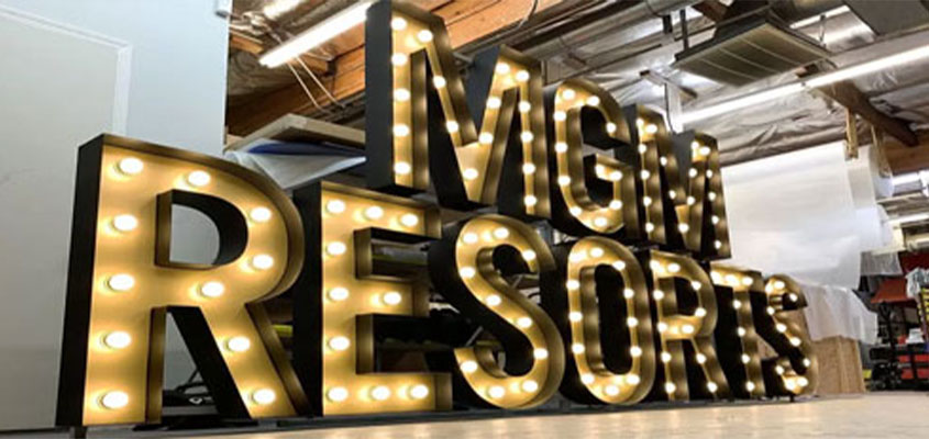 cool laser cut patterns on MGM Resorts letters