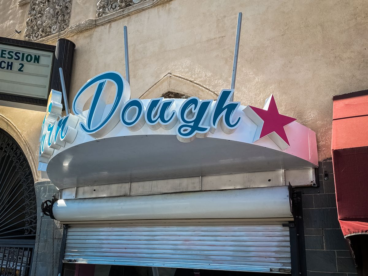 Turn Dough 3d sign with the company name and decor elements custom-made of aluminum and acrylic for storefront branding