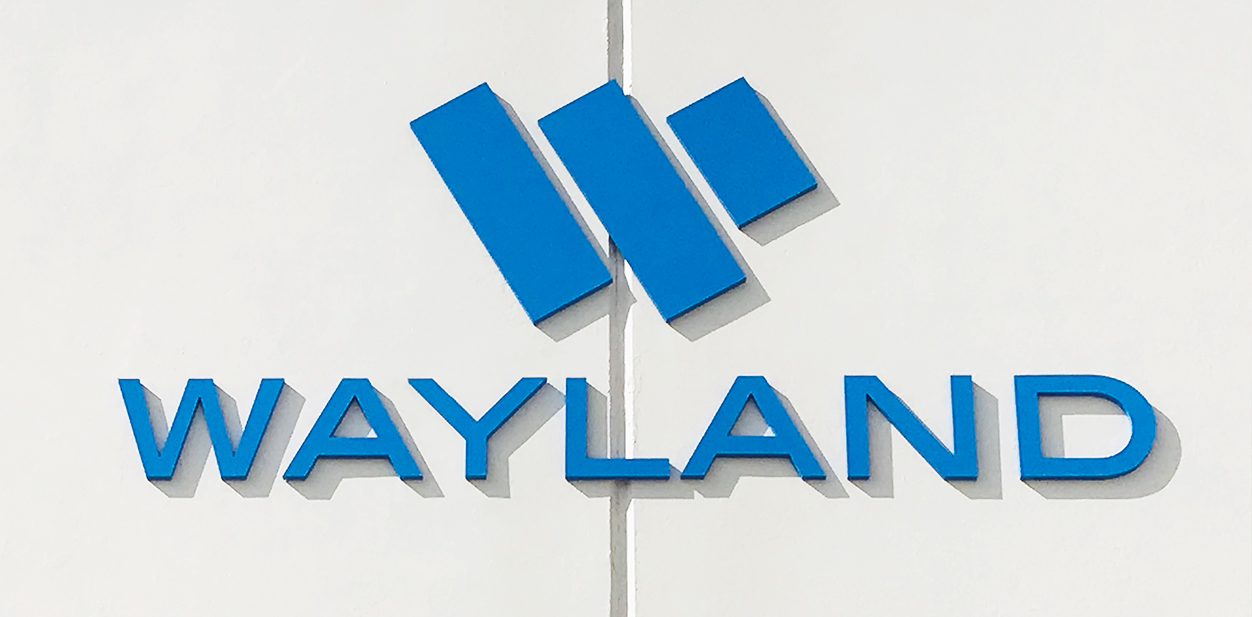 Laser cut idea from Wayland displaying brand name and logo for inspiration