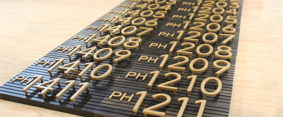 letters and numbers aluminum cut board idea