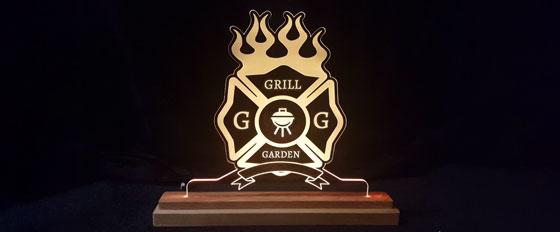 Grill Garden branded acrylic engraving idea