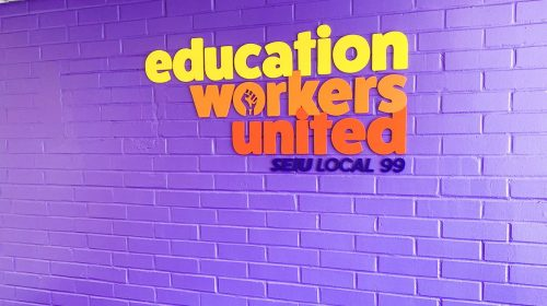 Education Workers United 3d acrylic letters sign in bright colors for interior branding